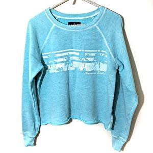 American Eagle Cropped Aqua Sweatshirt Size Medium